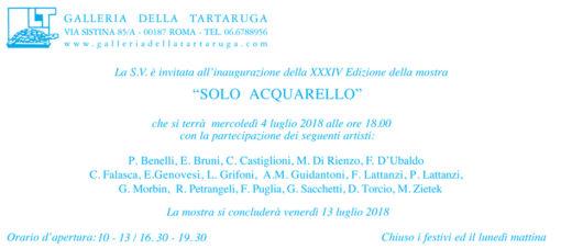 Solo Acquarello XXXIV Edizione della mostra alla Galleria Tartaruga