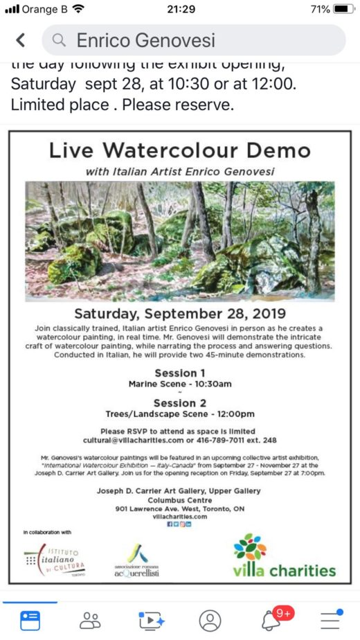 Live Watercolour Demo di  E. Genovesi